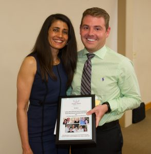 Southern Illinois University School of Dental Medicine graduate Bryce Evans with Dr. Poonam Jain