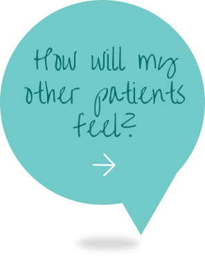 teal conversation bubble with the question in text how will my other patients feel