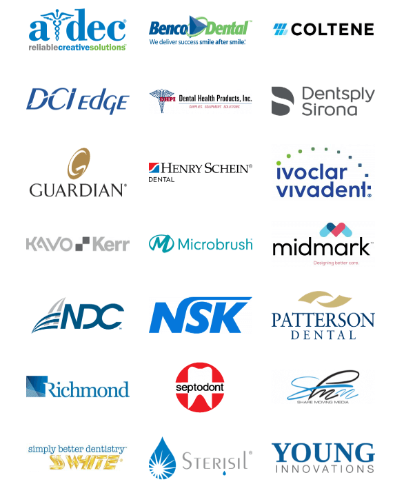 A dec, Benco Dental, Coltene, DCI Edge, DHPI, Dentsply Sirona, Guardian, Henry Schein Dental, Ivoclar Vivadent, KavoKerr, Microbrush, Midmark, NDC, NSK, Patterson Dental, Richmond, Septodont, Share Moving Media, SS White, Sterisil, Young Innovations
